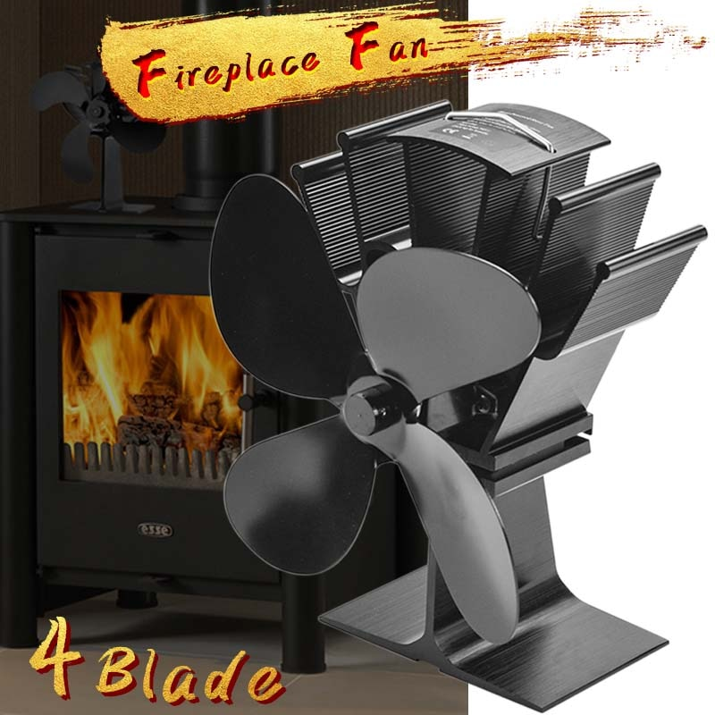 Black Fireplace 4/5 Blade Heat Powered Stove Fan komin Log Wood Burner Eco Friendly Quiet Fan Home Efficient Heat Distribution