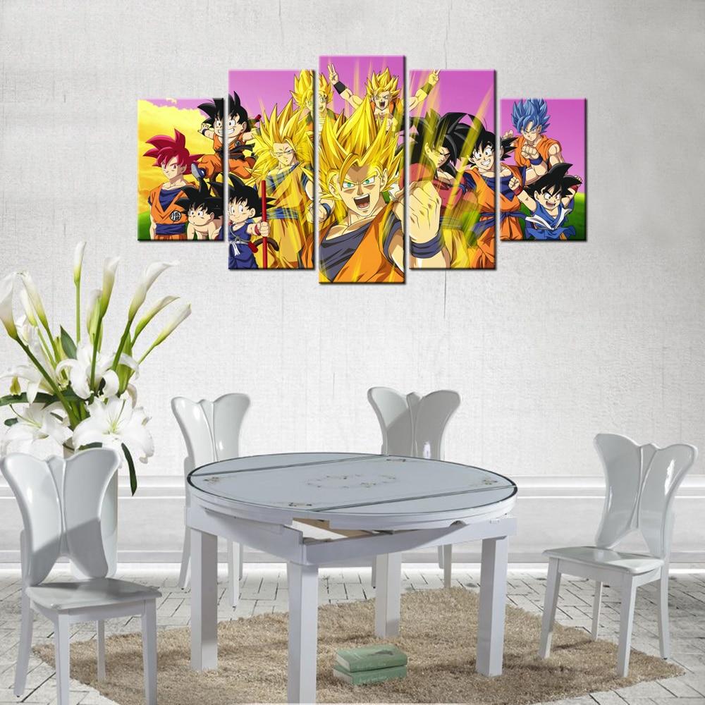 5 paneles de lienzo de pintura animado Dragon Ball Z arte de pared imprime fotos póster para sala de estar