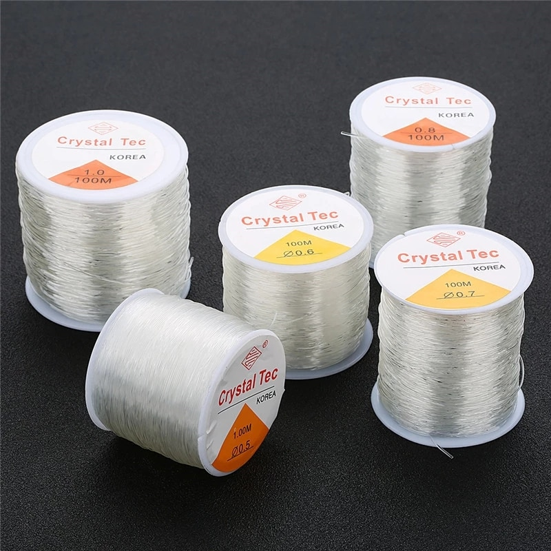 Cuerda elástica de plástico para hacer joyas, cuerda de hilo de 100M