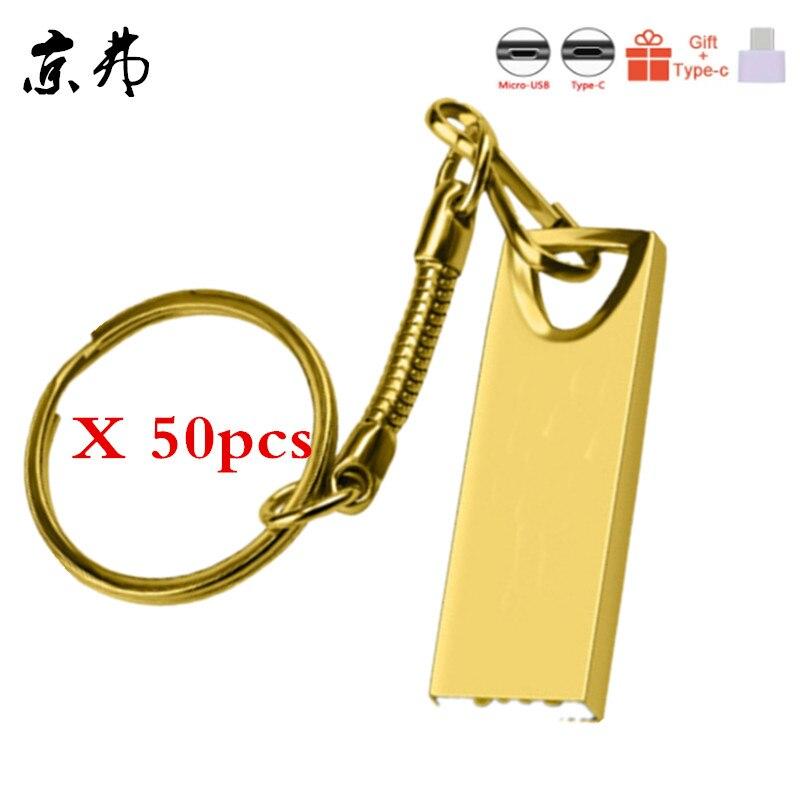 50pcs High Speed USB Flash Drive Metal Pen Drive 4GB 8G 16GB 32GB 256M 512M 128M Pendrives Waterproof USB Stick 2.0 Memory Stick