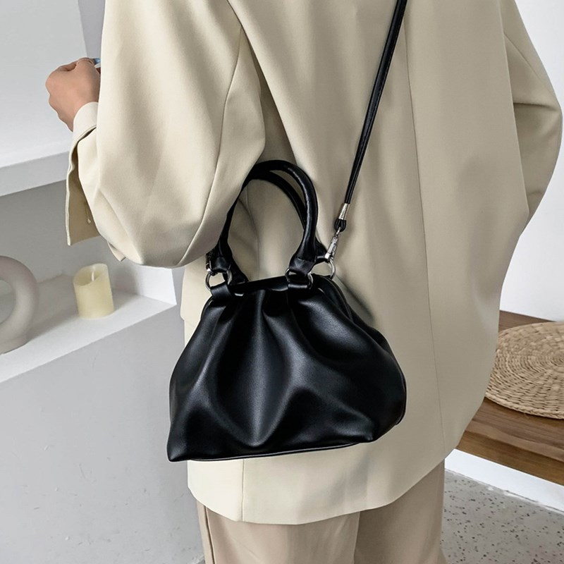 Elegant Small Bucket Bag for Women High Quality Soft Leather Crossbody Tote Bags Female Tide Pure Color Pleated Shoulder Handbag