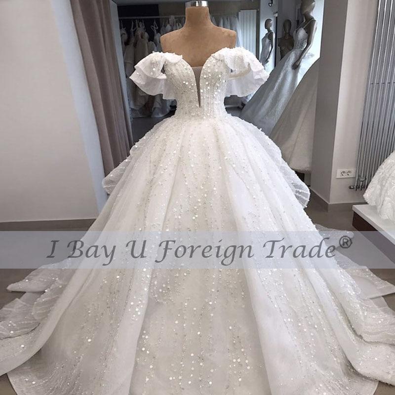 Vintage Off Shoulder  France  Wedding Dresses 2021 Bridal Ball Gowns Full Beading Wedding Dress High Qual