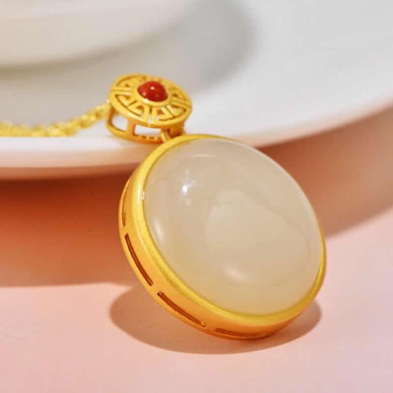 Colgante de plata de ley S925 colgante de collar redondo de Jade blanco Natural