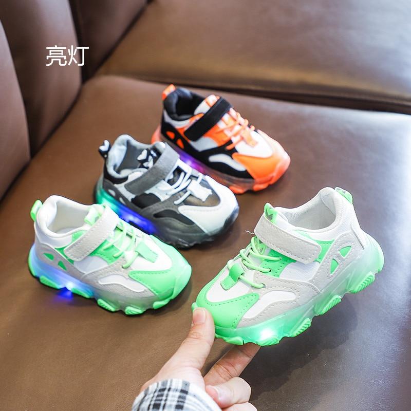 Zapatos deportivos para niños, primavera 2020, nuevos zapatos, sandalias para niños, zapatos luminosos con iluminación, Color caramelo, zapatos para correr para niños y niñas