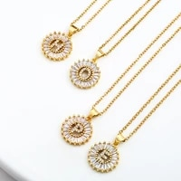 2021 new high quality womens large initials pendant necklace luxury hip hop style copper inlaid cubic zircon 26 letter jewelry