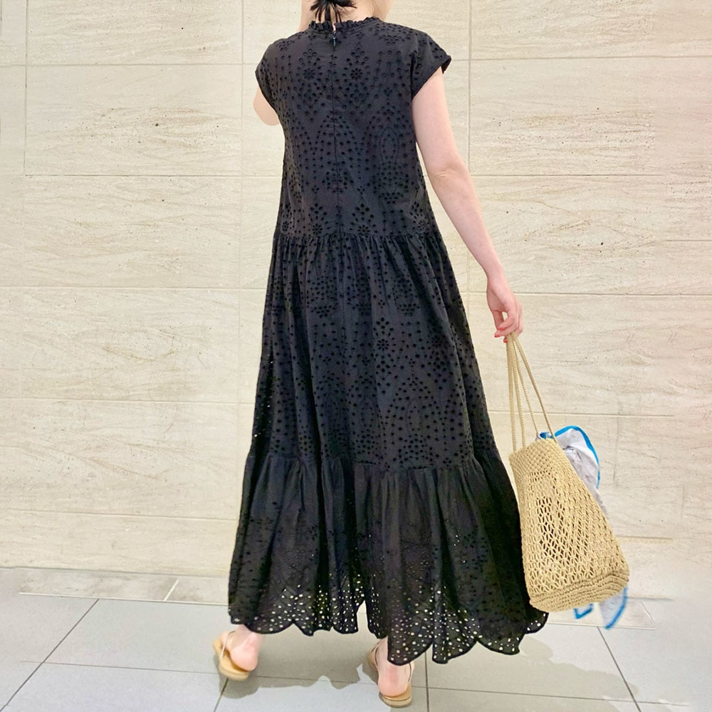 2021 Summer Dress Pleated Hollow Patchwork Short Sleeve Black A Line Loose Casual New Style Solid Co