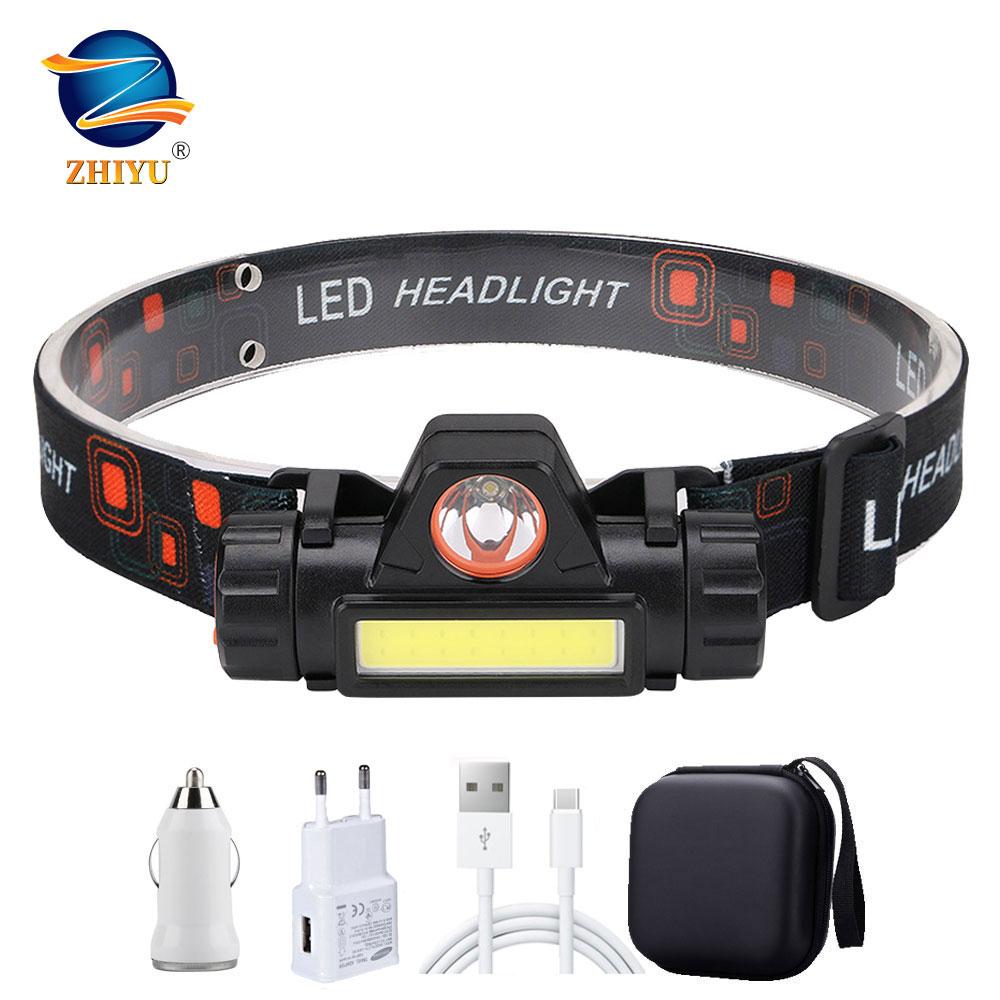 ZHIYU Portable Mini Flashlight Q5+COB Led Headlamp High Power Built-in 18650 Battery Outdoor Camping Headlight Stepless Dimming