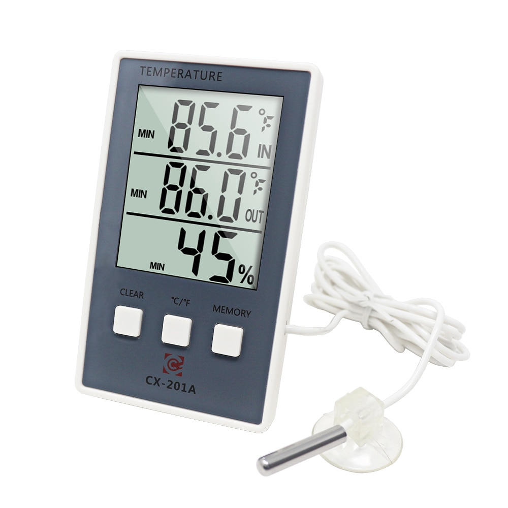 Digital Thermometer Hygrometer Indoor Outdoor Temperature Humidity Meter C/F LCD Display Sensor Prob