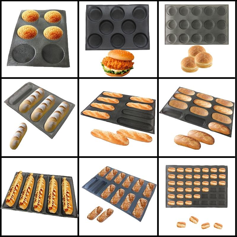 Meibum Round Bread Baguette Eclair Hamburger Baking Mold Long Loaf Cookie Bun Glass Fiber Silicone Mould Non Stick Bake Tray