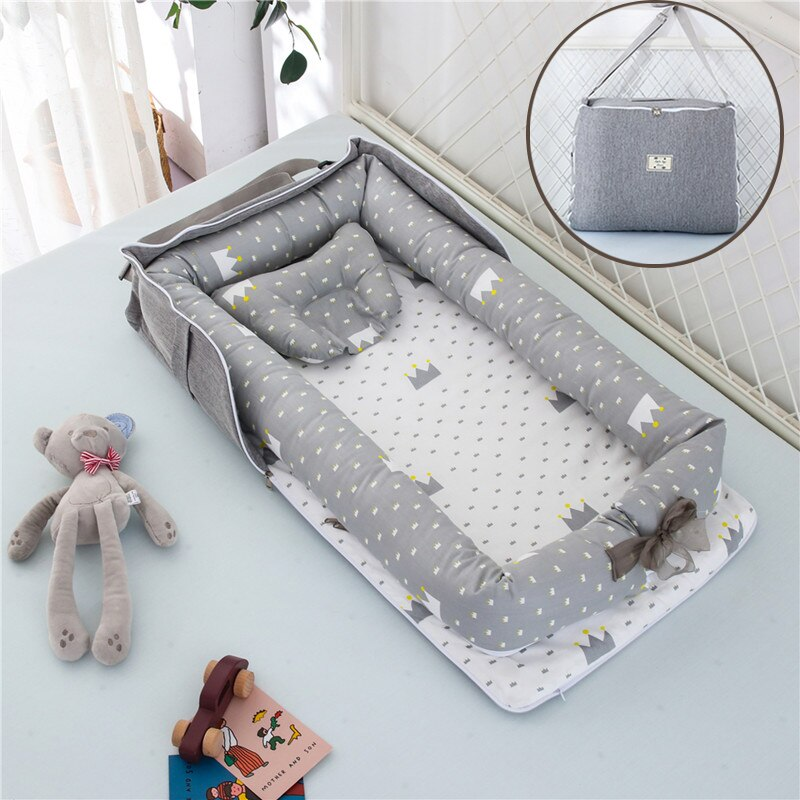 Removable Newborn Bed Baby Cot Nest Bed Bag Set Bebe Protect Cradle Cushion Bumper Portable Travel Crib for Newborn babynest