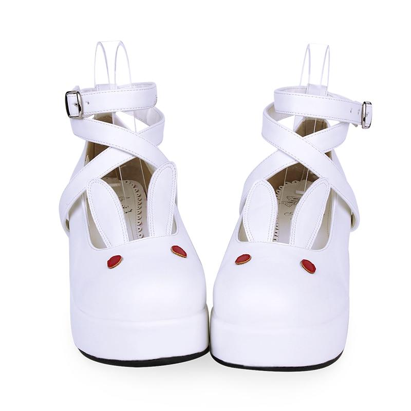 كوس أحذية آذان أرنب لطيف لوليتا أحذية سميكة كعب متوسط فتاة Kawaii الشاي حفلة الحلو لوليتا 4 ألوان بولي Lovely جميل Loli فيكتوريا
