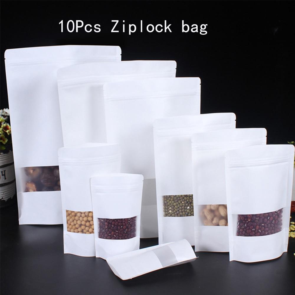 Sac en papier Kraft à fermeture éclair   10 pièces, sac réutilisable à fermeture éclair, vide, aliments secs, fruits thé, paquet cadeau, pochette scellable