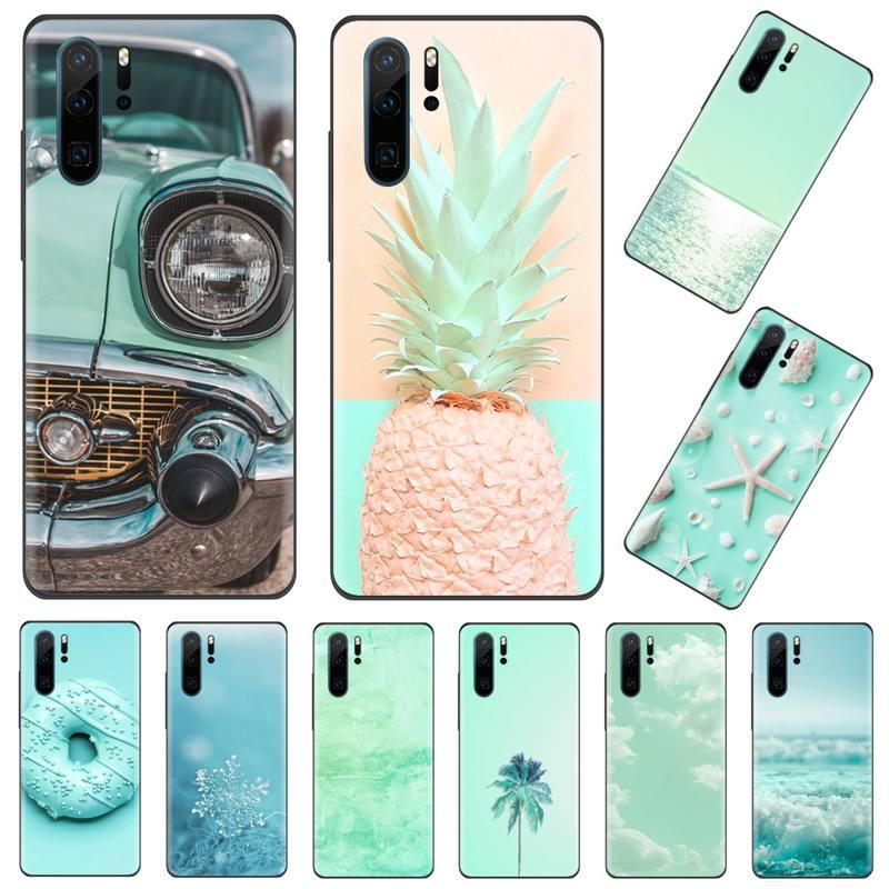Mint Green Candy colors Phone Case Funda For Huawei P9 P10 P20 P30 Lite 2016 2017 2019 plus pro P smart