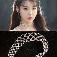 hot sale fshion korean luxury full rhinestone choker women pendant necklace chain chunky statement bib pendant chain necklace