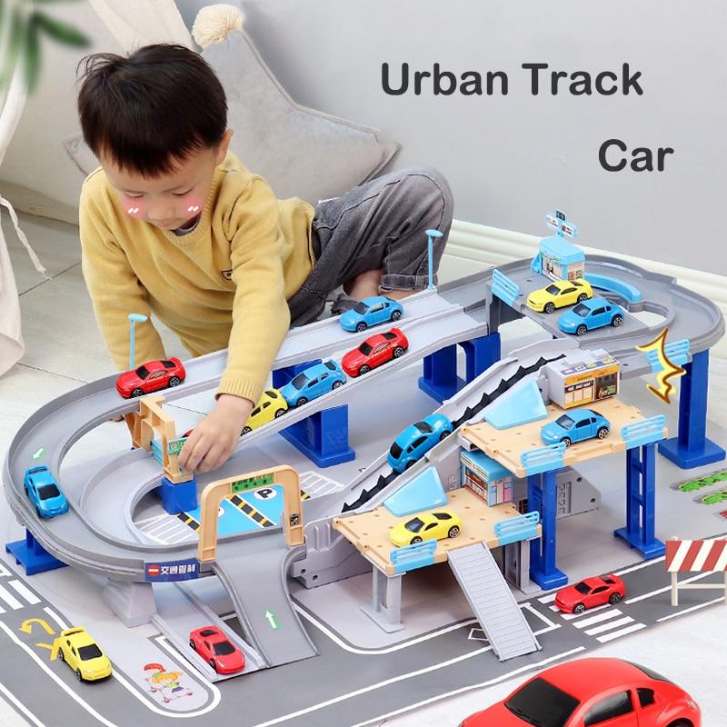 The New Urban Interchange Rail Car Children's Parking Lot Toy Set Large Multi-storey Garage Rail Toy Eudcational Birthday Gift