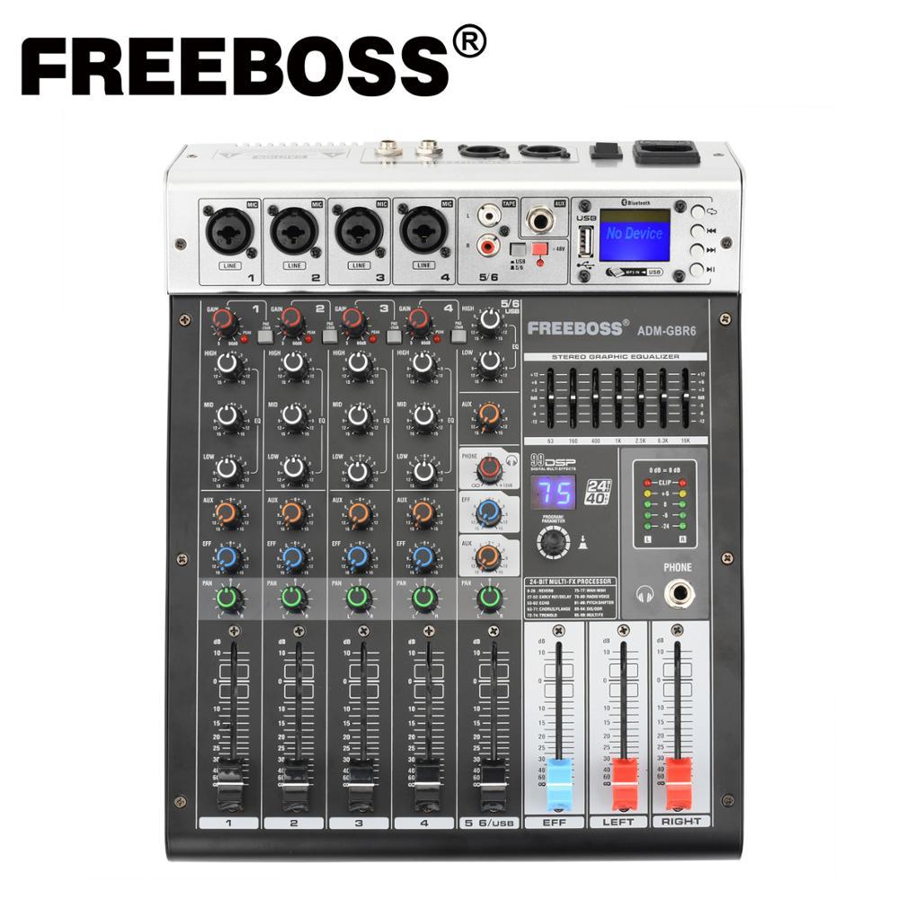 Freeboss ADM-GBR6 48V السلطة الوهمية Repaeat تأثير USB وظيفة بلوتوث الكاريوكي DJ وحدة 99DSP خلاط الصوت 6 قناة