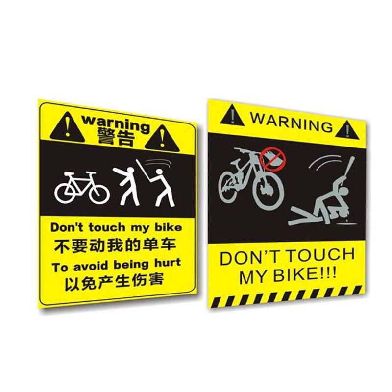 Etiqueta engomada de advertencia de bicicleta pegatina de advertencia de bicicleta no toques mi bicicleta etiqueta impermeable accesorios de ciclismo
