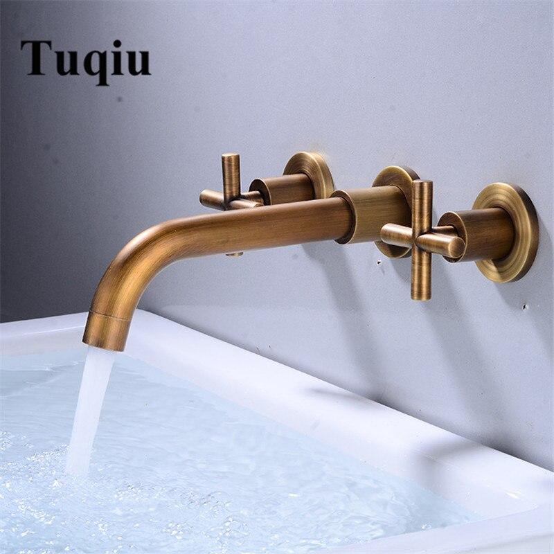 Tuqiu-صنبور حوض مثبت على الحائط بمقبض مزدوج ، ماء بارد وساخن ، عتيق ، برونز ، للحوض