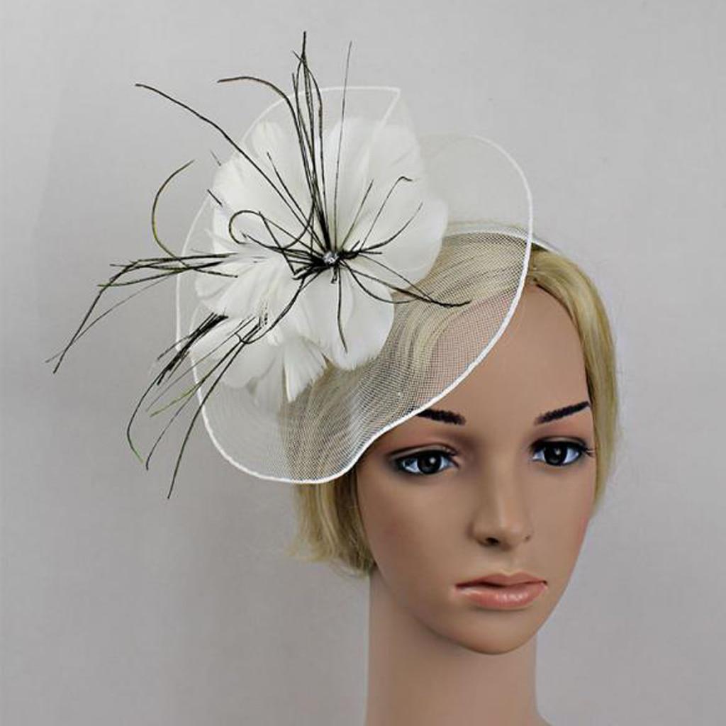 Net flor Fascinator pluma grande diadema boda mujeres Racing Parts Iglesia sombrero
