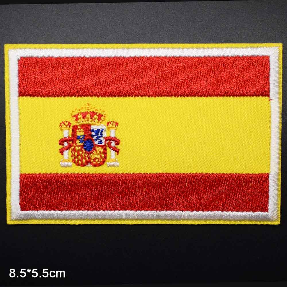 Parches para ropa con bordado de novedad de la bandera nacional de España, EE. UU., Alemania, Rusia, Rusia, Reino Unido, Bandera Nacional