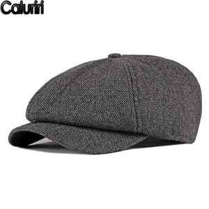 2020 Men's Winter Hat British Retro Octagonal Hat Middle-Aged Elderly Dad Gorro Classical Plus Velvet Warm Beret Hat ZZ-230