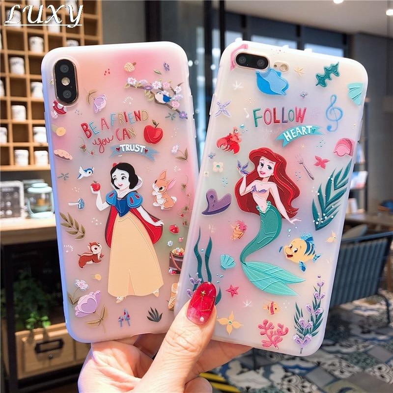 Princesa Linda niña sirena 3D alivio funda para teléfono para iPhone 11 pro X XS Max Xr 10 8 7 6 6s Plus blanco nieve Rapunzel Belle