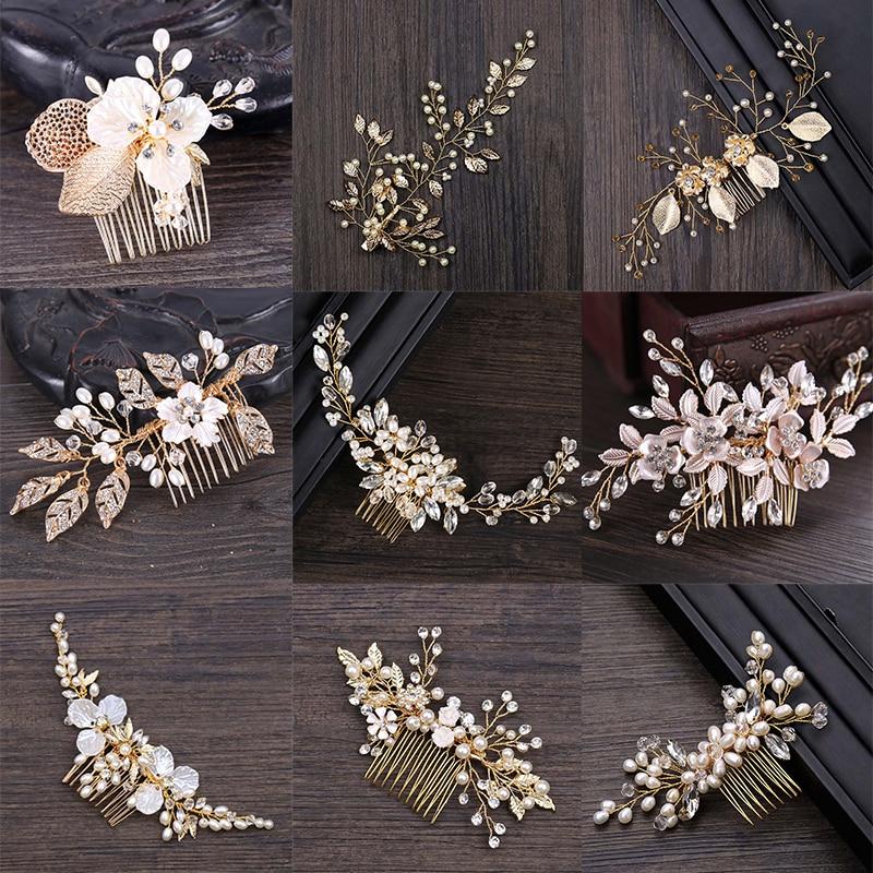 Golden Metal Crystal Pearl Hair Combs Jewellery Tiaras de Noiva Headpiece Bridal Hair Jewelry Women