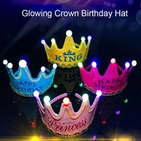 led king princess prince happy birthday paper crown hats baby shower boy girl birthday party xmas decorations supplies kids