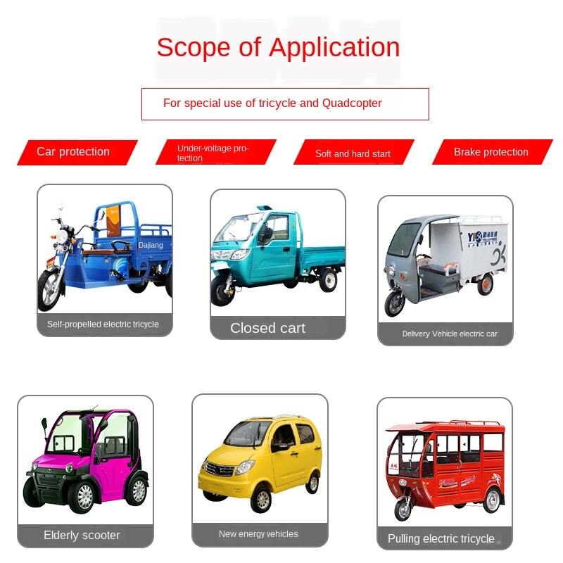 Electric Quadricycle Controller 3000w2200w60v72v High-power Brushless Motor Tricycle 36 Tube Universal Electrical YG6K990 enlarge