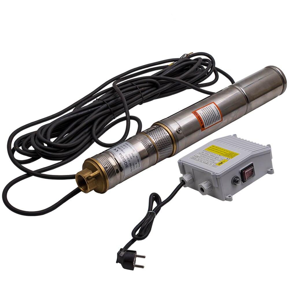 "Bomba eléctrica sumergible de agua de pozo profundo de 3 ""370 W + cable de 15m"