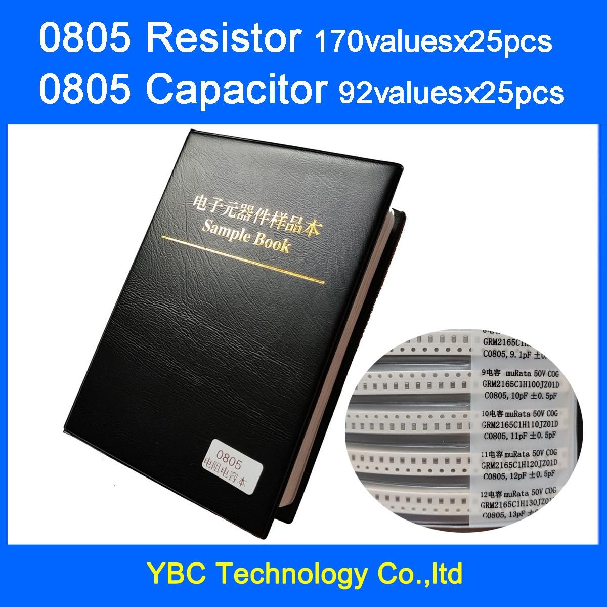 0805 SMD Resistor 0R~10M 1% 170valuesx25pcs=4250pcs + Capacitor 92valuesX25pcs=2300pcs 0.5PF~10uF Sample Book
