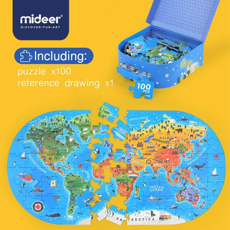 MiDeer-أحجية الصور المقطوعة للأطفال ، 100 قطعة ، خريطة ، ألعاب ، معرفية ، التعليم المبكر ، صندوق هدايا ، لعبة أطفال