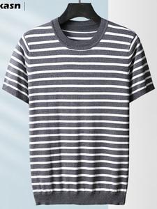 New Arrival Fashion High Quality Stripe Knitted Short Sleeve Summer Casual Ice Silk O-neck Striped Tshirt Men Plus Size M-4XL5XL