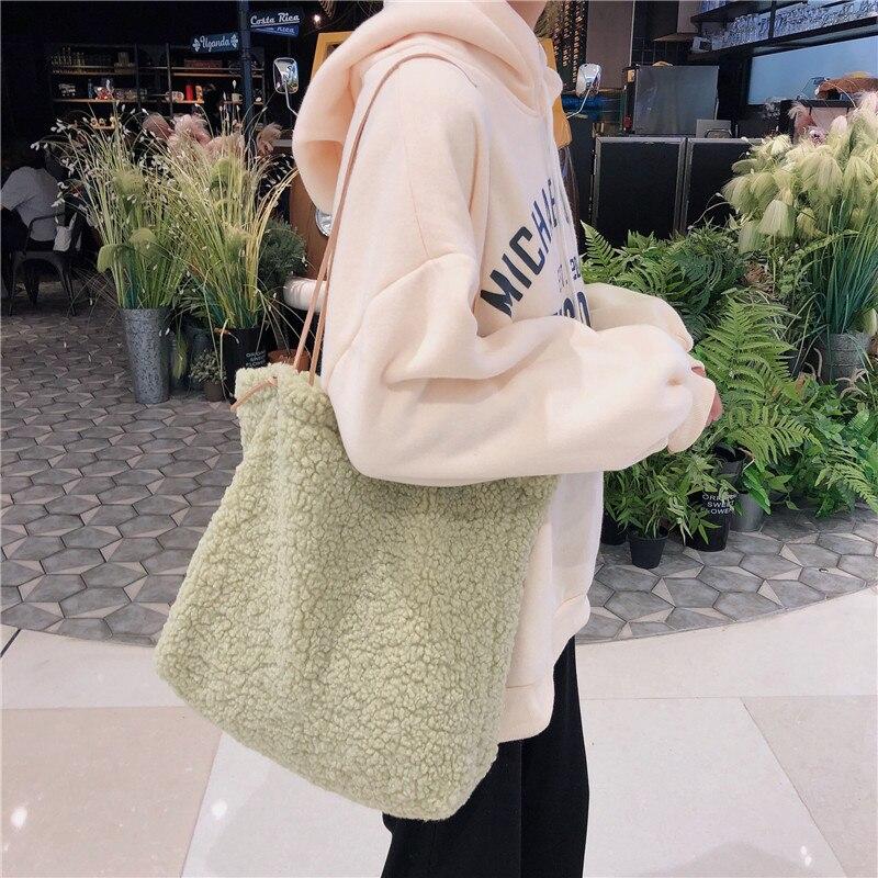 Bolsa feminina de pelúcia estilo japonês, sacola fofa e macia de mão frutas e verdes, sacos adoráveis para moças, bolsa de compras aberta, novo, 2020 saco do saco