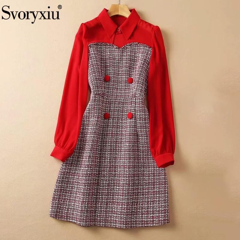 فستان نسائي قصير أنيق من Svoryxiu يصلح للخريف متعدد الألوان وذو تصميم قديم ، بأزرار منقوشة ، مناسب للحفلات