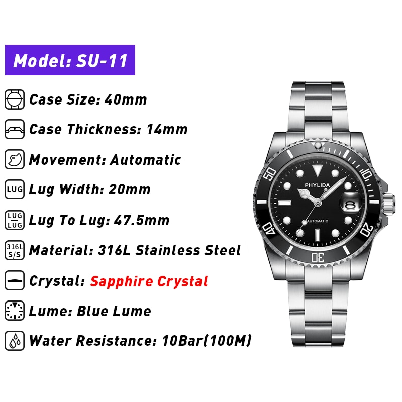 Reloj de buceo automático MIYOTA Mov, resistente al agua, de 40mm, con esfera negra, cristal de zafiro SUB luminoso, 10ATM, 100M