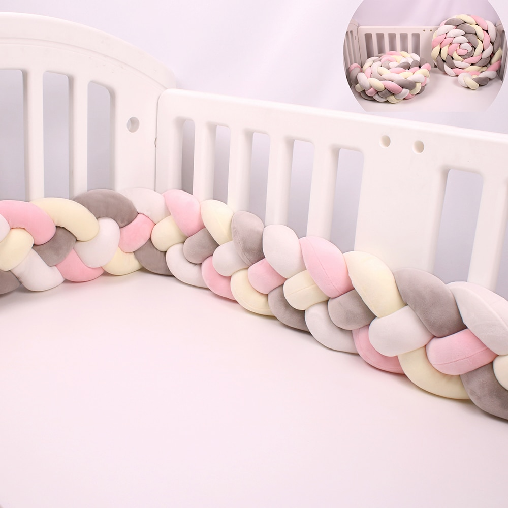 2.2M/3M 4 Knotted Crib Bumpers Nursery Decor for babies Cot Bumper Bed Barriers Baby Bed Bumper Room Pillow Protector