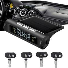 Smart Car TPMS Tire Pressure Alarm Monitor System Solar Power LCD Display 4 Built-in Sensor Tyre Pre