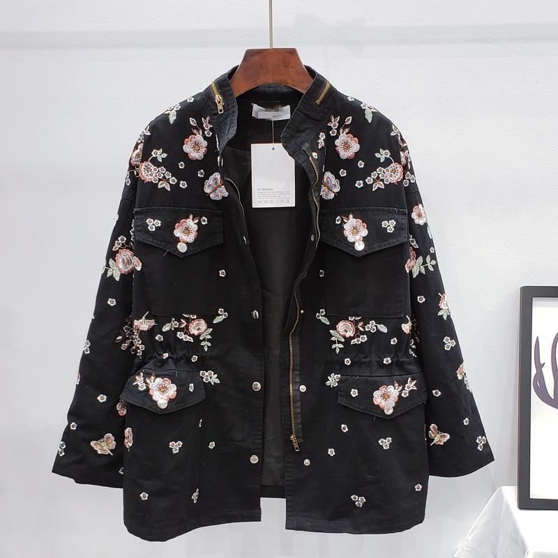 Женская хлопковая куртка, повседневная куртка-бомбер в стиле оверсайз с цветочной вышивкой, женские куртки, хлопковые пальто армейского зе...
