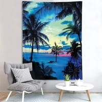 sunset twilight sea scenery tapestry ocean beach landscape wall hanging tropical tree tapestry home decor blanket beach towel