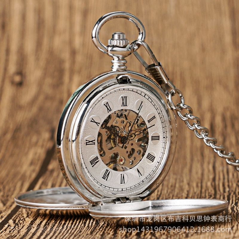 Large Pocket Watch with double open cover and double light retro hand-operated Machinery