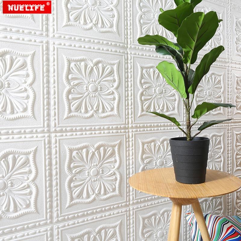 European white pattern 3d wall stickers foam wallpaper waterproof living room TV background wall decoration soft wall stickers