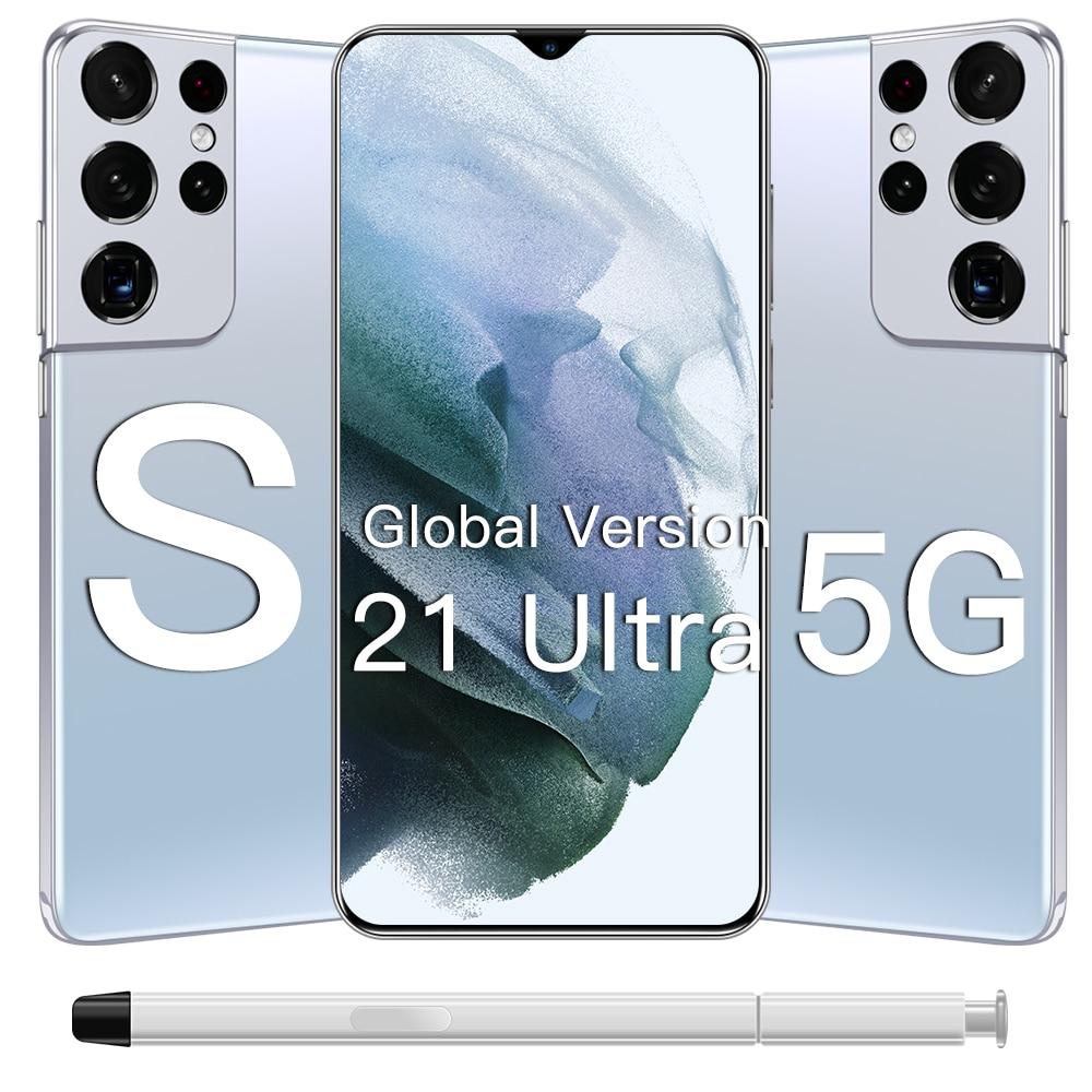 Galay S21 Ultra 5G 16 + 512GB Andriod 11.0 هاتف محمول 6800mAh بطارية كبيرة 32 + 50 ميجابكسل Qualcomm888 Face ID الإصدار العالمي للهواتف الذكية