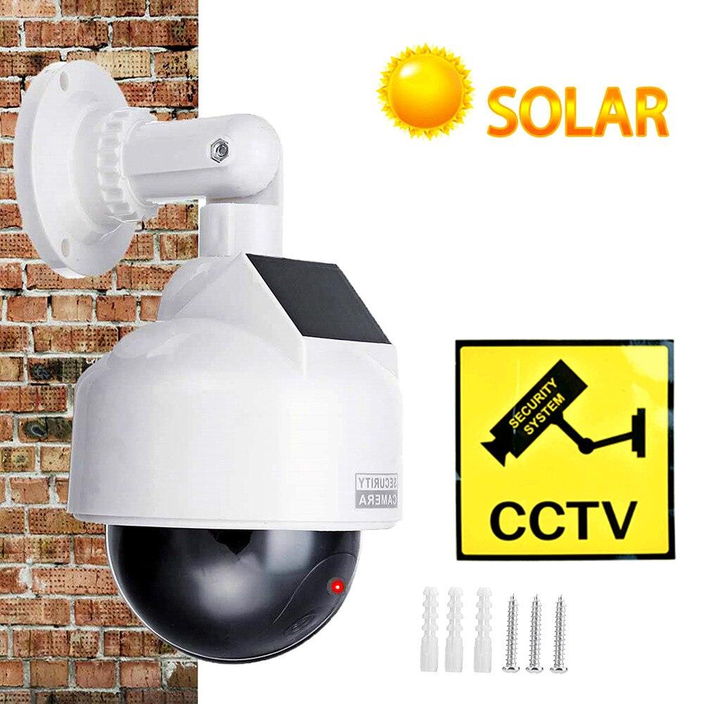 كاميرا cctv الدمية وهمية الطاقة الشمسية للمراقبة بالفيديو في الهواء الطلق وامض الأحمر led محاكاة ptz بطارية الأمن قبة الدمية كام