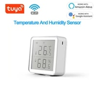 Tuya     capteur de temperature et dhumidite dinterieur  WIFI Smart Life  hygrometre  thermometre avec ecran LCD  fonctionne avec Assistant domestique