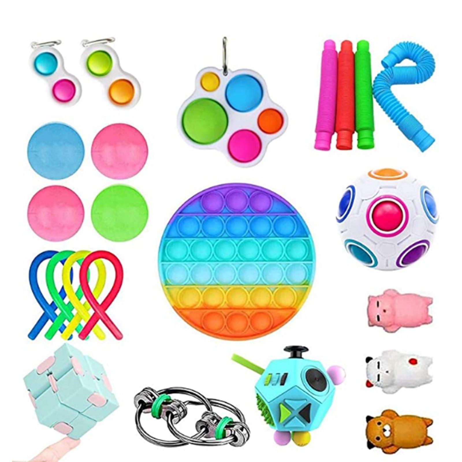 22pc/26pc Creative Adults Fidget Toy Set Cheap Sensory Fidget Toys Pack Children Squishy Sensory Antistress Relief Figet Toys