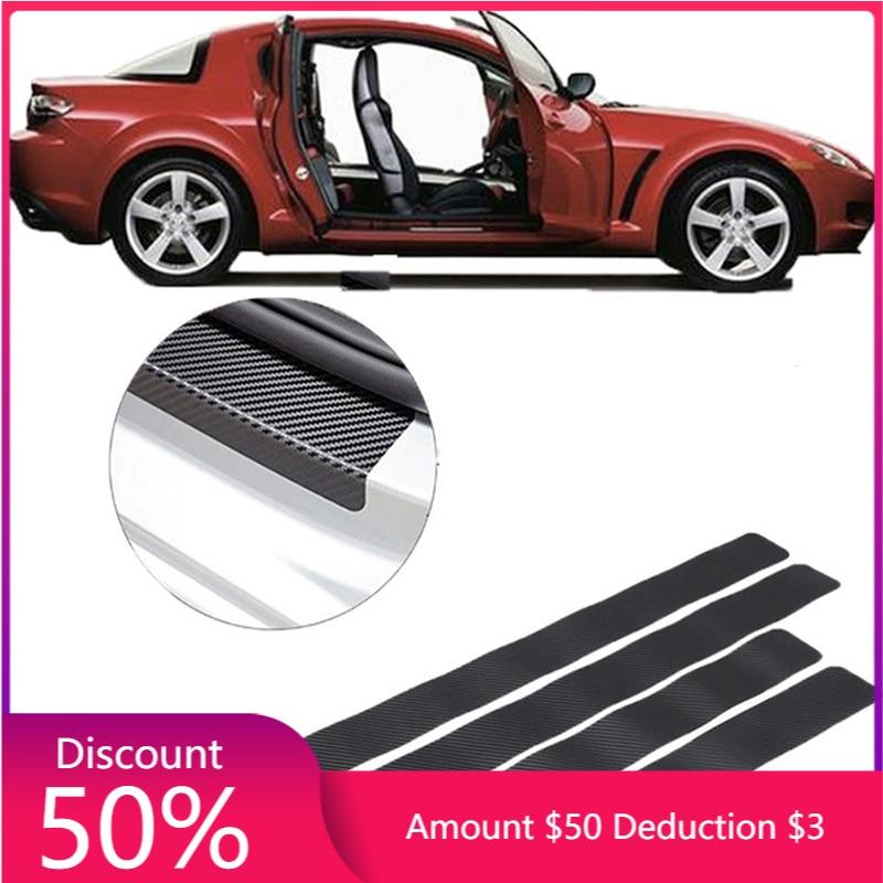 4 шт. автомобильные наклейки, универсальные наклейки на пороги, устойчивые к царапинам, из углеродного волокна, автомобильные наклейки на дв...