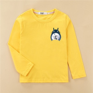 Totoro Tops Kids Autumn Long Sleeve T-shirt 100% Cotton Home Clothes Boys Girls Brands Spring Tees Costume