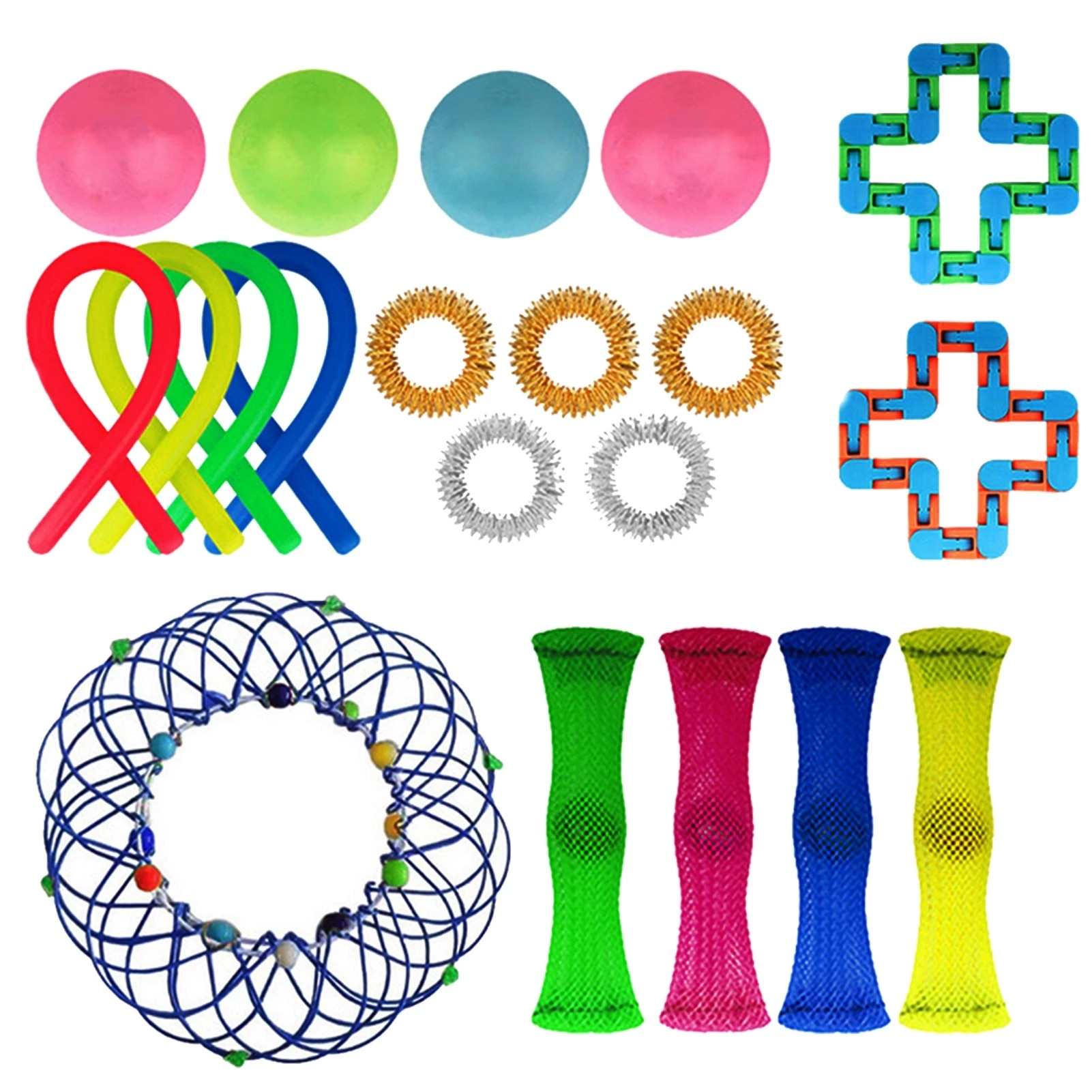 Boy/Girl/Kid Gift 20Pcs Reliever Noodle Rope Toys Wacky Tracks Stress Relief Sensory Toy Adult Child Funny Anti-Stress Fidget enlarge