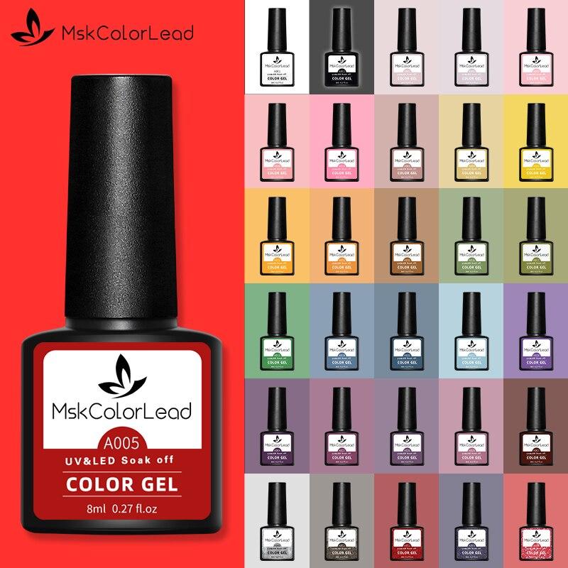 Msk-esmalte de Gel para uñas, 8ML, 60 colores para manicura, LED UV...